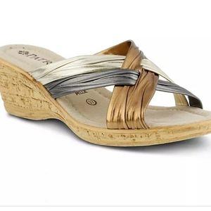 Patrizia Wedges Gold Sandals